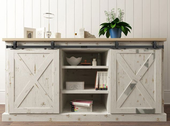 Outwater offers barn door hardware for smaller cabinets