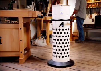 The new Axiom Stratus pulls woodworking dust downward from the bench toward the floor