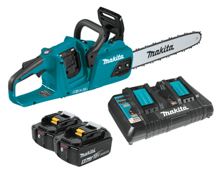 The new Makita cordless chainsaw is a viable option for woodturners