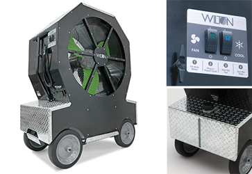 Wilton's Cold Front Atomized Cooling Fan combats heat and humidity