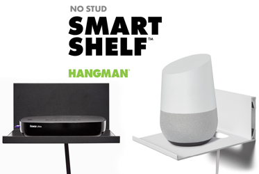 HANGMAN's No Stud Smart Shelf™ installs with only tiny picture nails and a hammer
