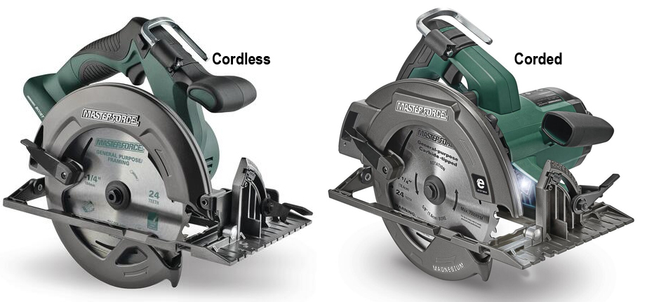 Corded and corless Masterforce circular saws from Menards