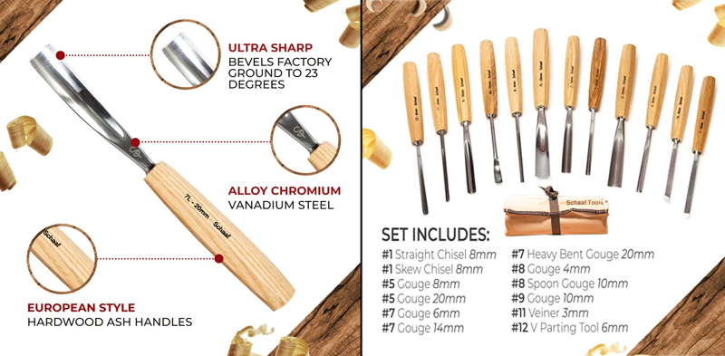 Great Price on A Set of Twelve Schaaf Carving Tools