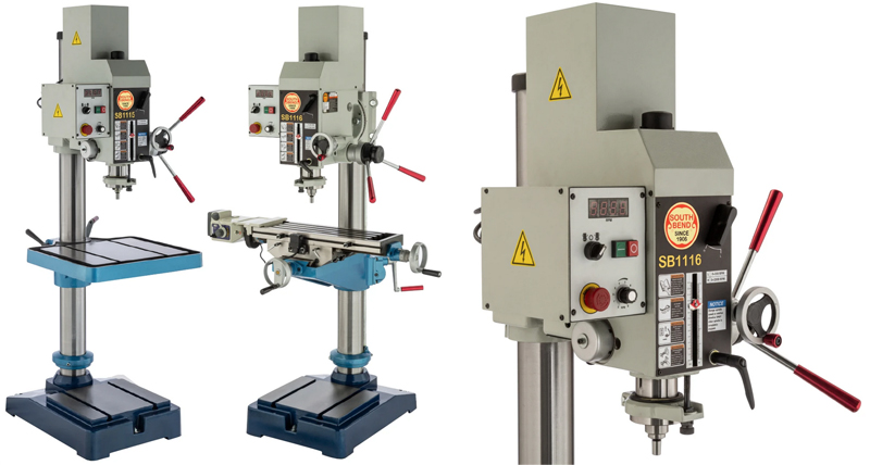 """South Bend Tools 21"""" Variable-Speed Gearhead Drill Presses SB1115 and SB1116"""