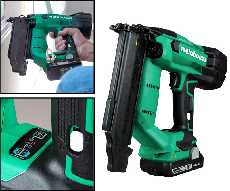 An 18V Compact Cordless 18 Gauge Brad Nailer NT1850DF from Metabo